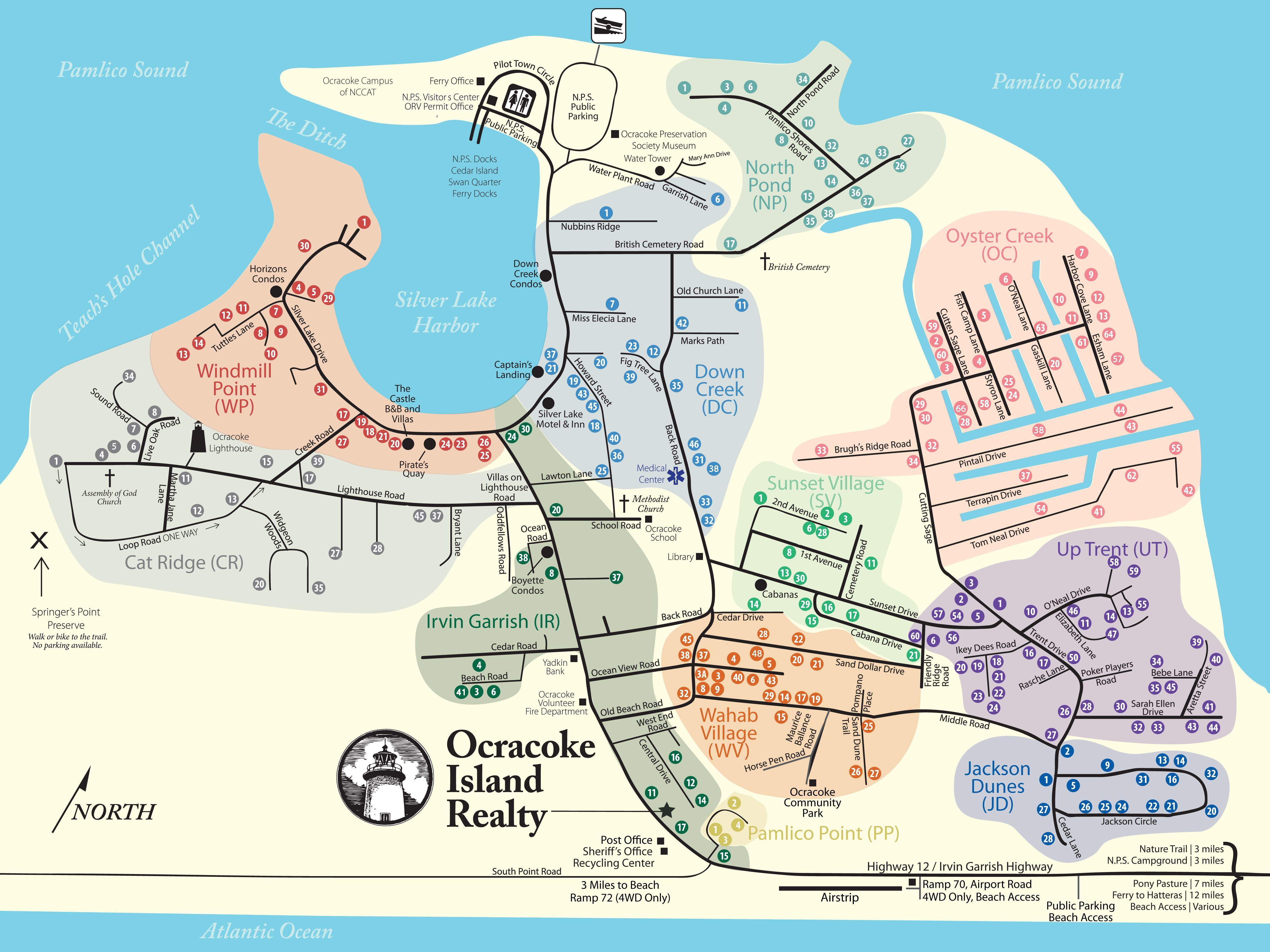 Ocracoke Island Neighborhoods Map Ocracoke Island Realty Vacation Ideas In 2019 Ocracoke