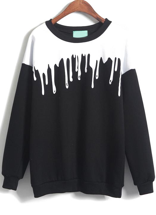 Shop Black Long Sleeve Drop Print Loose Sweatshirt online. Sheinside offers Black Long Sleeve Drop Print Loose Sweatshirt & more to fit your fashionable needs. Free Shipping Worldwide!