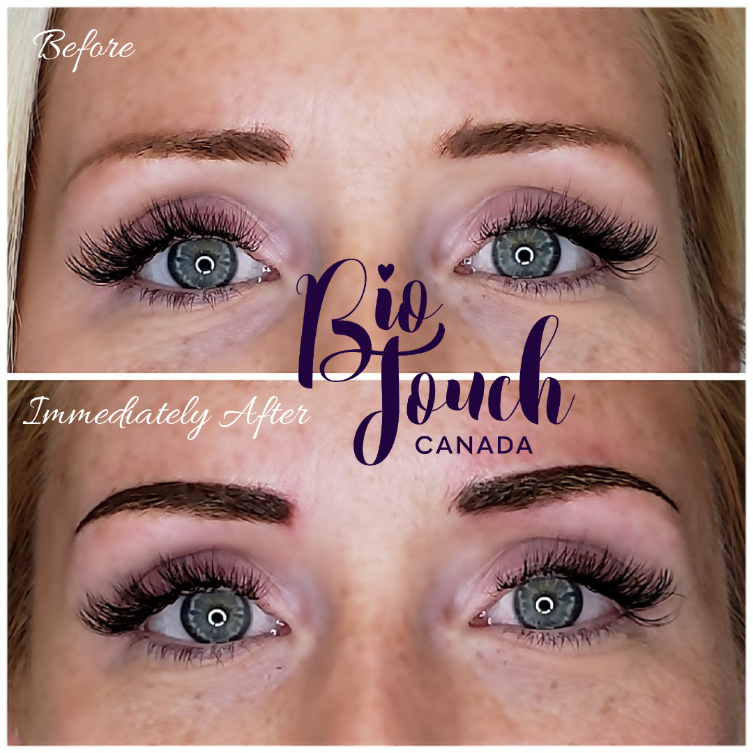 Eyebrow Powdering Before & Immediately After using our