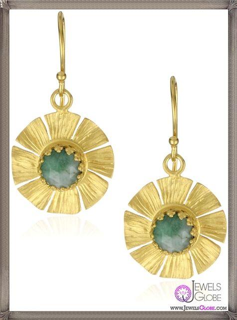 Kevia Pacifica Rose Cut Emerald Small Flower Drop Earrings