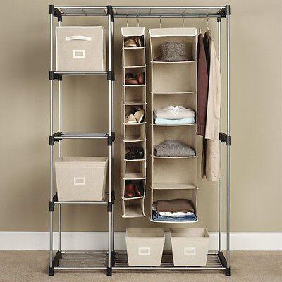 Details About Closet Organizer Storage Rack Portable Clothes Hanger Home Garment Shelf Rod G68 Standing Closet Closet System Stand Alone Closet