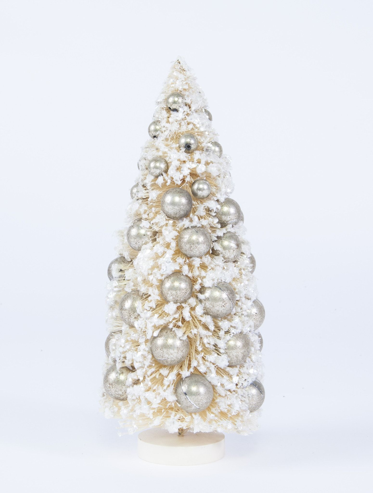 Bethany Lowe White Bottle Brush Tree with Silver Ornaments