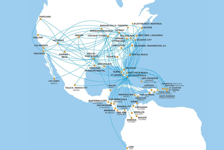 Spirit Airlines Route Map | Flight Attendant Career | Airline ...