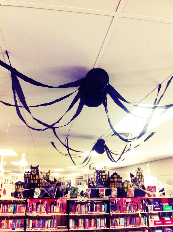 Halloween decorations at the Katherine Public Library really please - giant spider halloween decoration