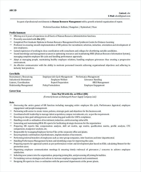 Hr Manager Resume Template Format  Professional Manager Resume