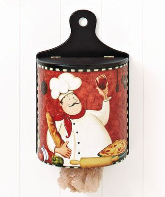 fat chef italian bistro wooden wall mount plastic bag dispenser