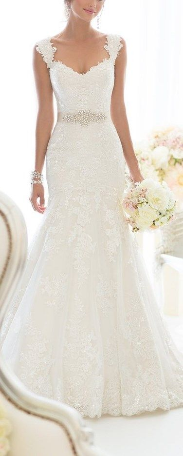 Elegant Off-Shoulder Crystal Lace Wedding Dress | Pinterest | Lace ...