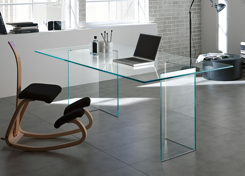 Modern glass office desks adorable in home decorating for Contemporary home office furniture