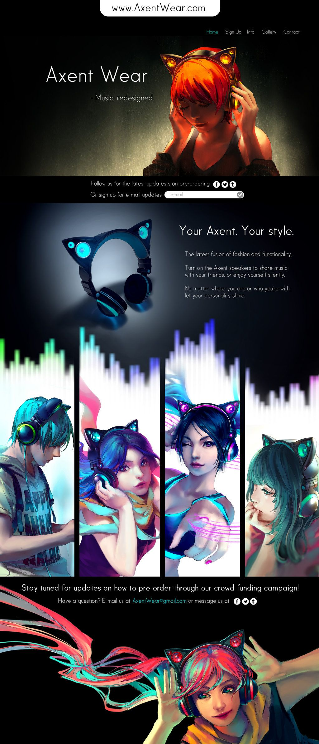 "Yuumei of Fisheye Placebo has begun a campaign to fund ""Axentwear"" blutooth headphones with speakers. Check out the website, too.. it's pretty cool. http://www.axentwear.com/"