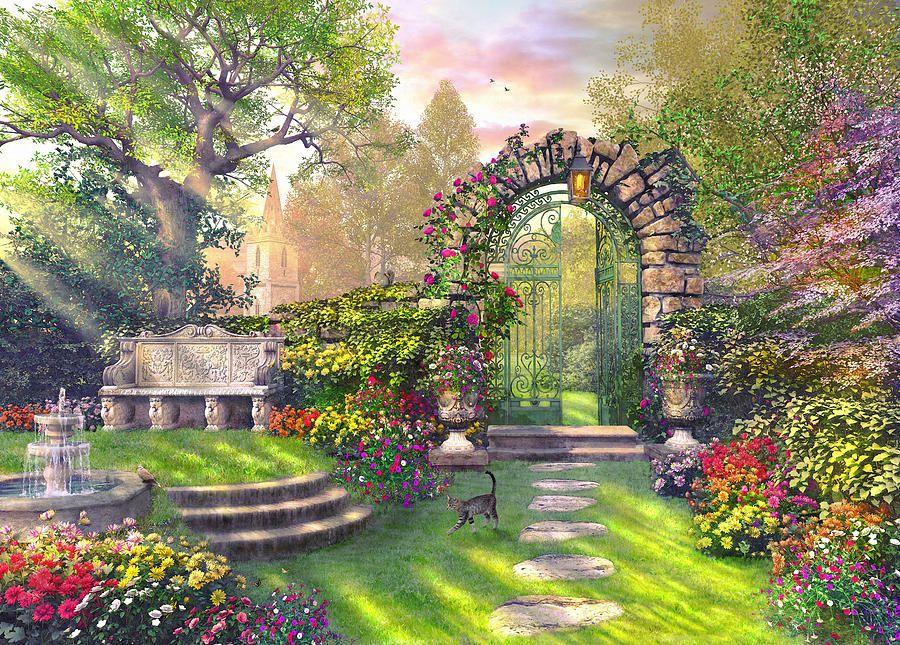 The Garden Gates By Dominic Davison Anime Scenery Wallpaper Anime Scenery Anime Backgrounds Wallpapers Anime castle garden background night