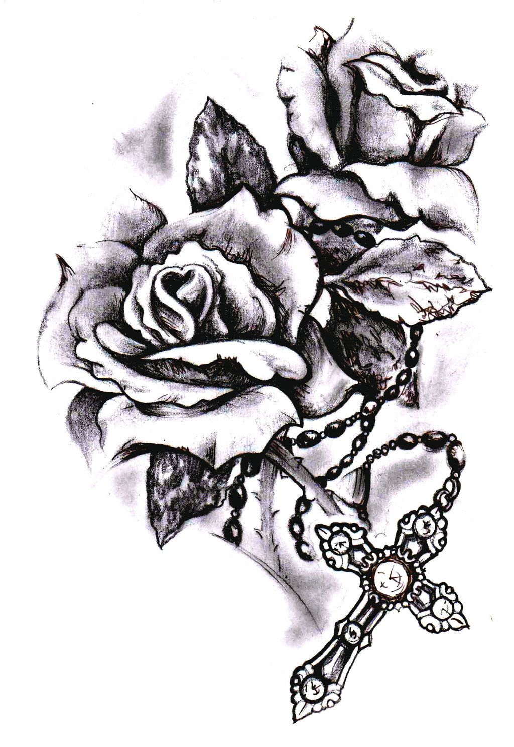 Mens cross tattoo with roses - Rose Cross Tattoo Google Search