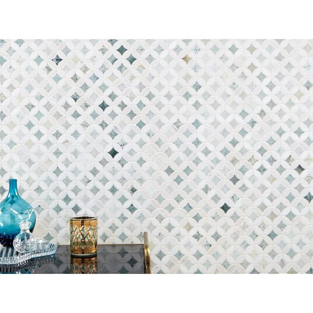 Caribbean Green Thassos Tulip Marble Mosaic Marble Mosaic Mosaic Floor Decor