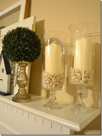 These glass containers were made from candle holders and vases found at the dollar store! Brilliant!