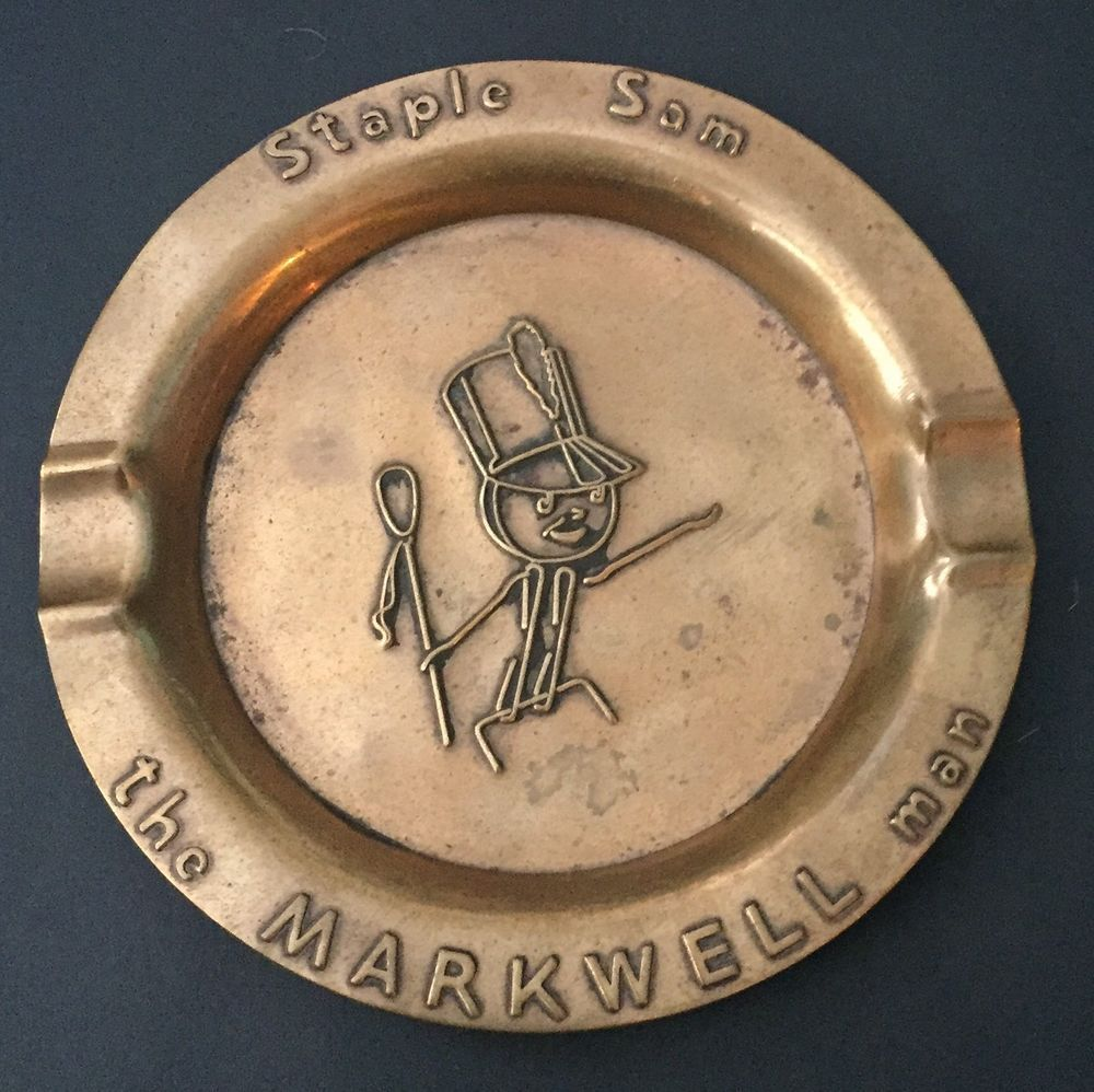 Vtg rochester metal arts staple sam the markwell man