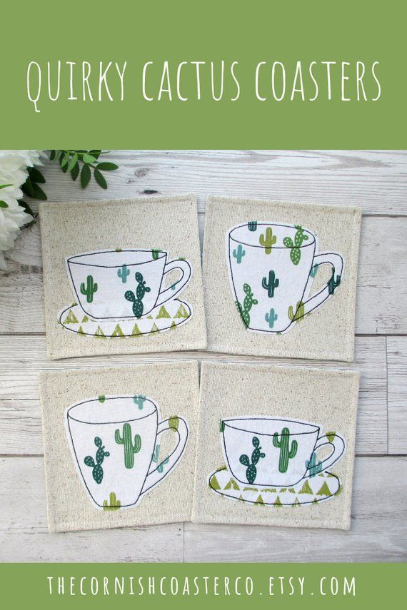Coasters, Cactus Print, Housewarming Gift, Botanical Decor, Home Decor, Gift For Her, Kitchen Decor, Gift For Him, Best Friend Gift is part of Cactus decor Kitchen - TheCornishCoasterCo ref l2shopheadername Thanks for visiting! ♥