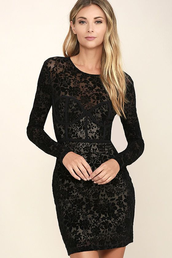 04f9836d24b Every belle of the ball needs a dress as alluring as the Cor-Set to Go Black  Burnout Velvet Print Dress! Sheer and stretchy black mesh is adorned with a  ...