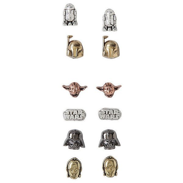 Star Wars Characters Earring Set Hot Topic (20 AUD) ❤ liked on Polyvore featuring jewelry, earrings, star wars and earring jewelry