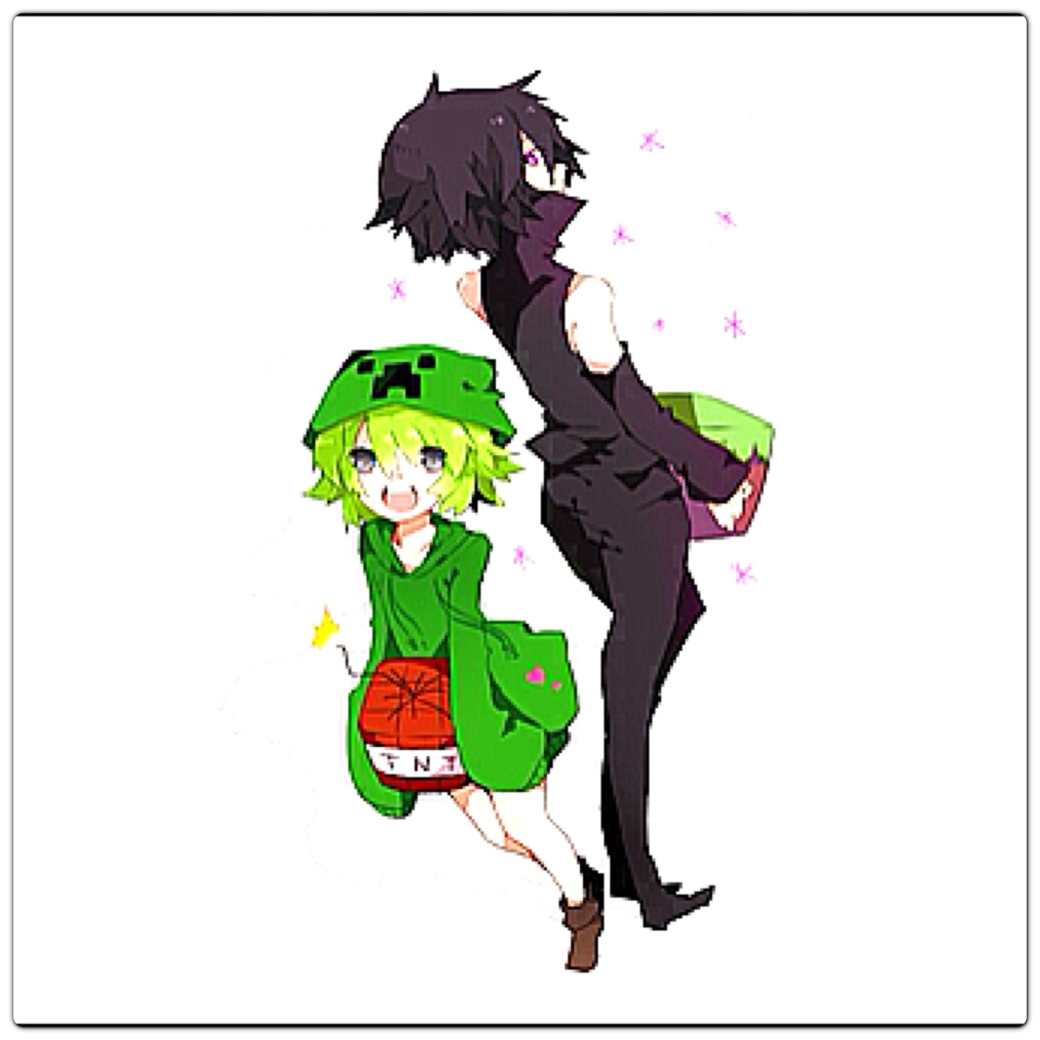 Creeper And Enderman Minecraft Anime Minecraft Fan Art