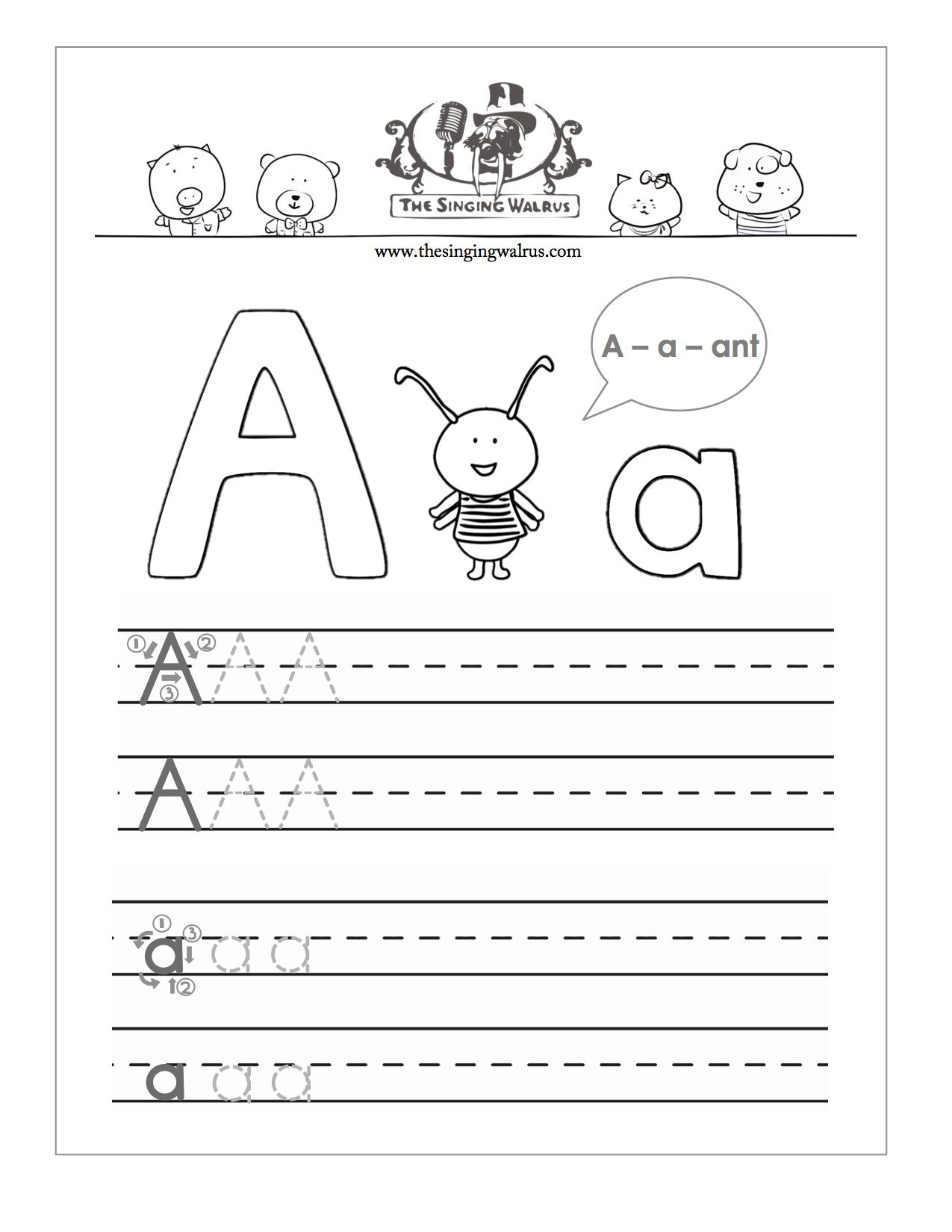 Free printable letter A practice sheet for kids a bination of