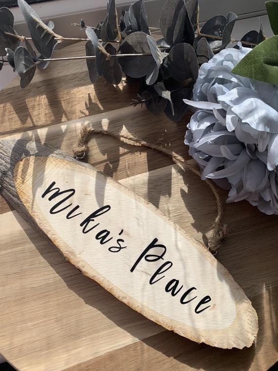 Photo of Wooden Door Sign- Wooden Plaque – Hanging Name Sign- Gift- Garden Accessories- Personalised- Free De
