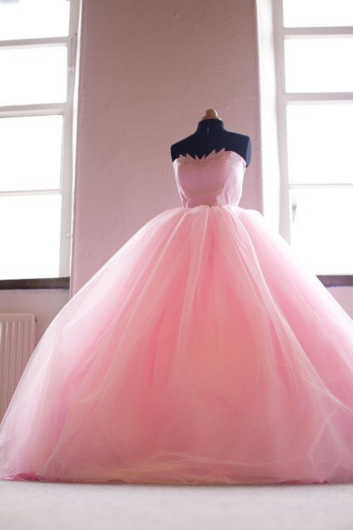 big pink ball gown prom