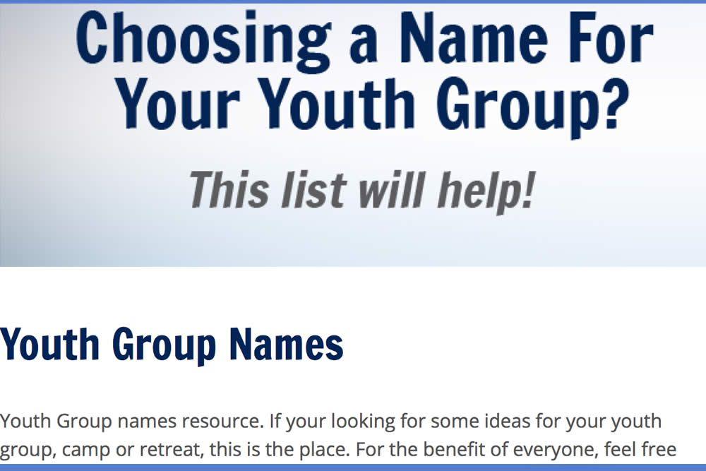 Best Youth Group Names | Youth group names, Group names ...