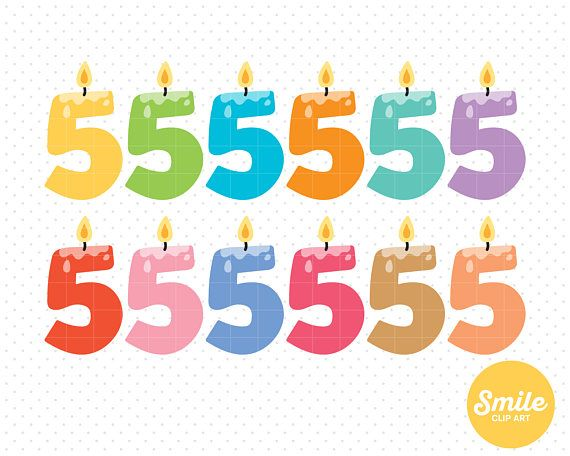 Birthday Clipart Candles Number 5 5th Filing Clip Art