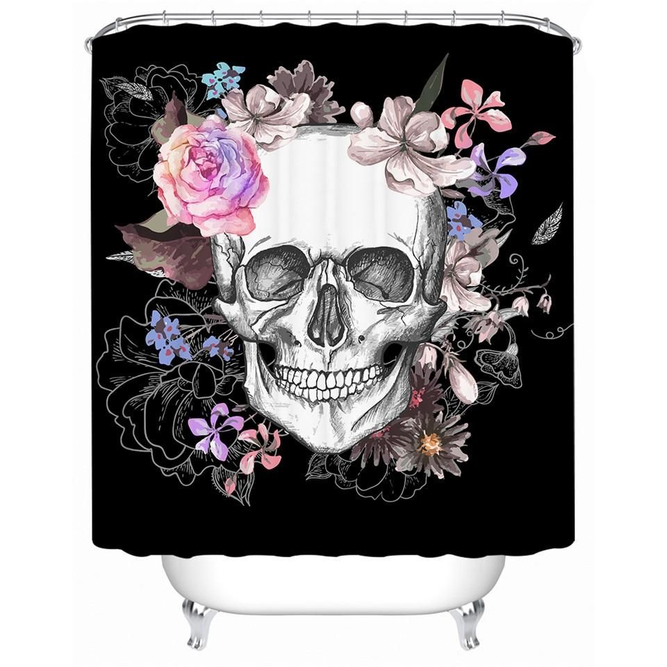 Floral Skull Shower Curtain With Hooks With Images Skull Shower Curtain Sugar Skull Shower Curtain Floral Skull