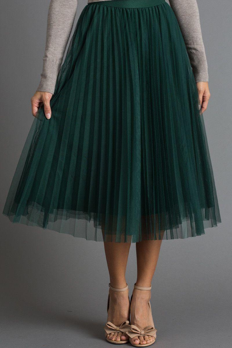 393bd0ebc1 Vienna Green Pleated Tulle Midi Skirt  greentulleskirt Favoritos