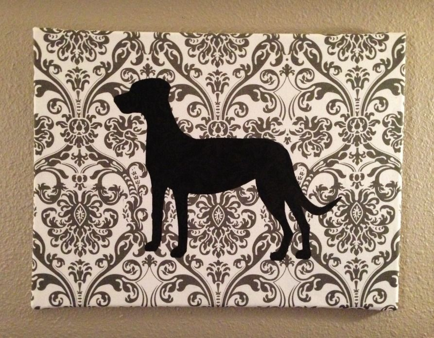 """Simple  Cute Four-Legged Friend Silhouette (Dog pictured = Silhouette of my dog Rory! She's a Catahoula Cur hound mix) ~ What you need: fabric, acrylic paint, paint brush, canvas (canvas pictured: 18"""" x 24""""), staple gun, paper (to create silhouette stencil), black sharpie, or fabric marker ~ How to: *wrap fabric of choice around canvas *tack down using staple gun *trace silhouette stencil onto fabric *fill in silhouette on fabric with acrylic paint *hang  enjoy! ~ Cost: appx. $10"""