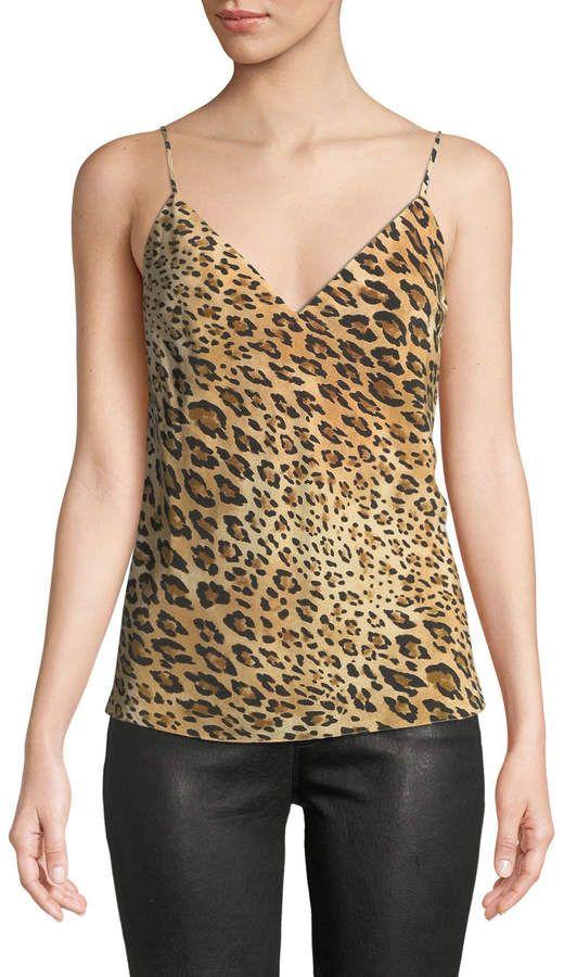 53ab39e05262ed FRAME V-Neck Cheetah-Print Silk Cami Top | Products | Silk cami top ...
