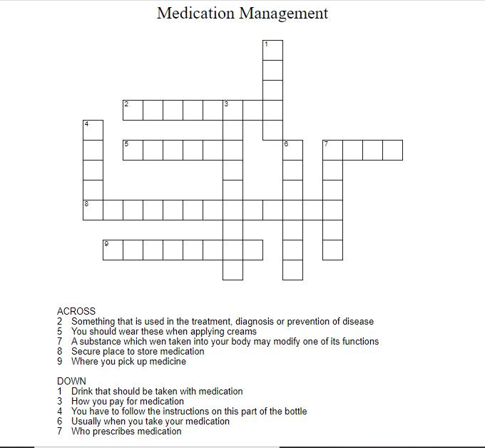 Medication Management Crossword Puzzle Medication Management September Lessons Medical