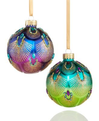 The beauty is in the details These peacock glass ball ornaments