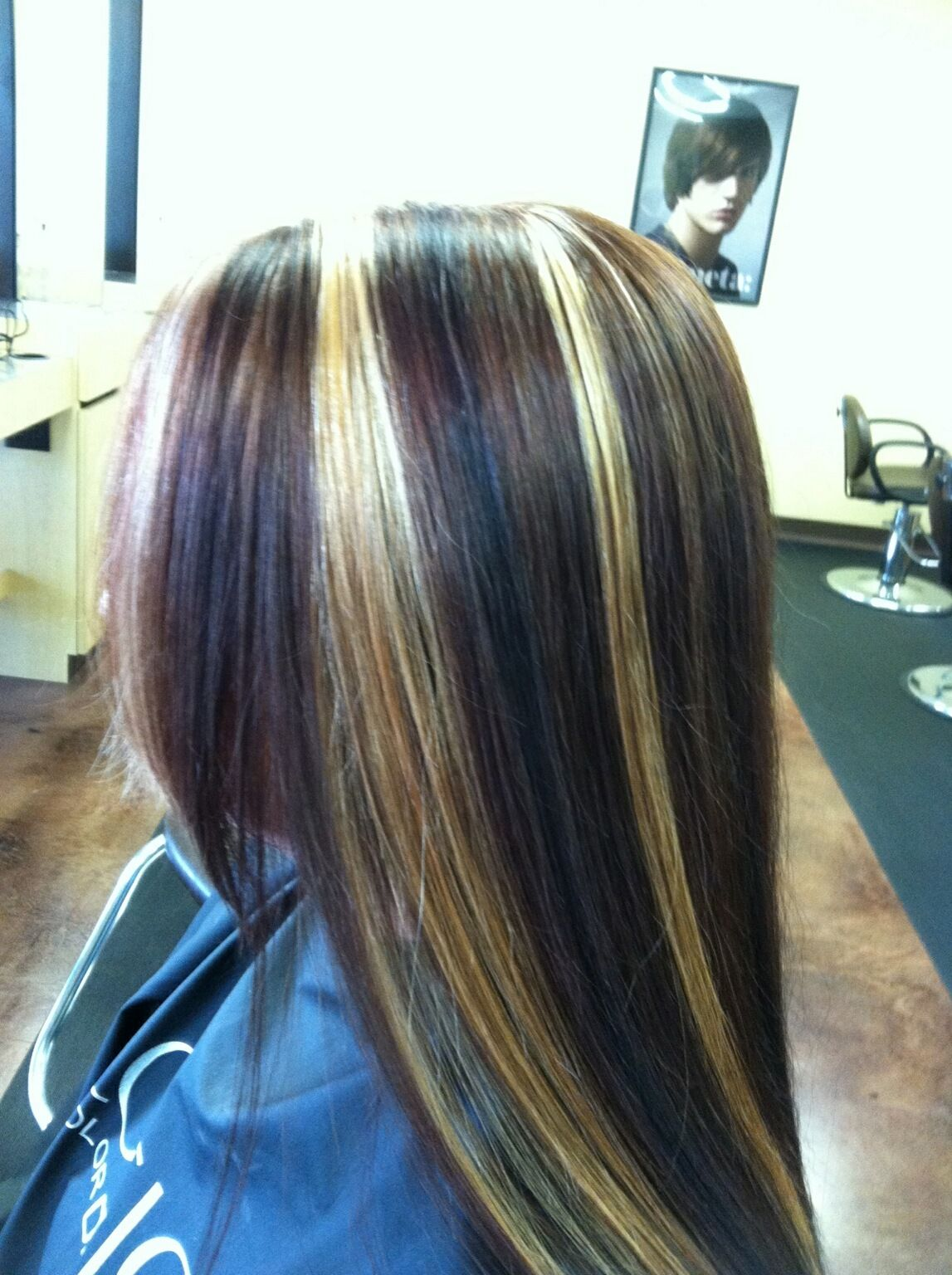 Matrix mocha with blonde highlights and violet red low