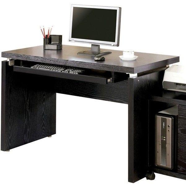Coaster Modern Computer Desk, Black ($228) ❤ liked on Polyvore featuring home, furniture, desks, black, wood computer desk, coaster furniture, modern desk, modern furniture and modern computer desk