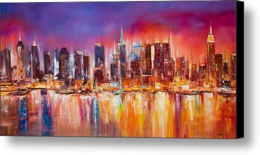 Vibrant New York City Skyline Canvas Print Canvas Art By Manit Skyline Painting City Painting City Skyline Art
