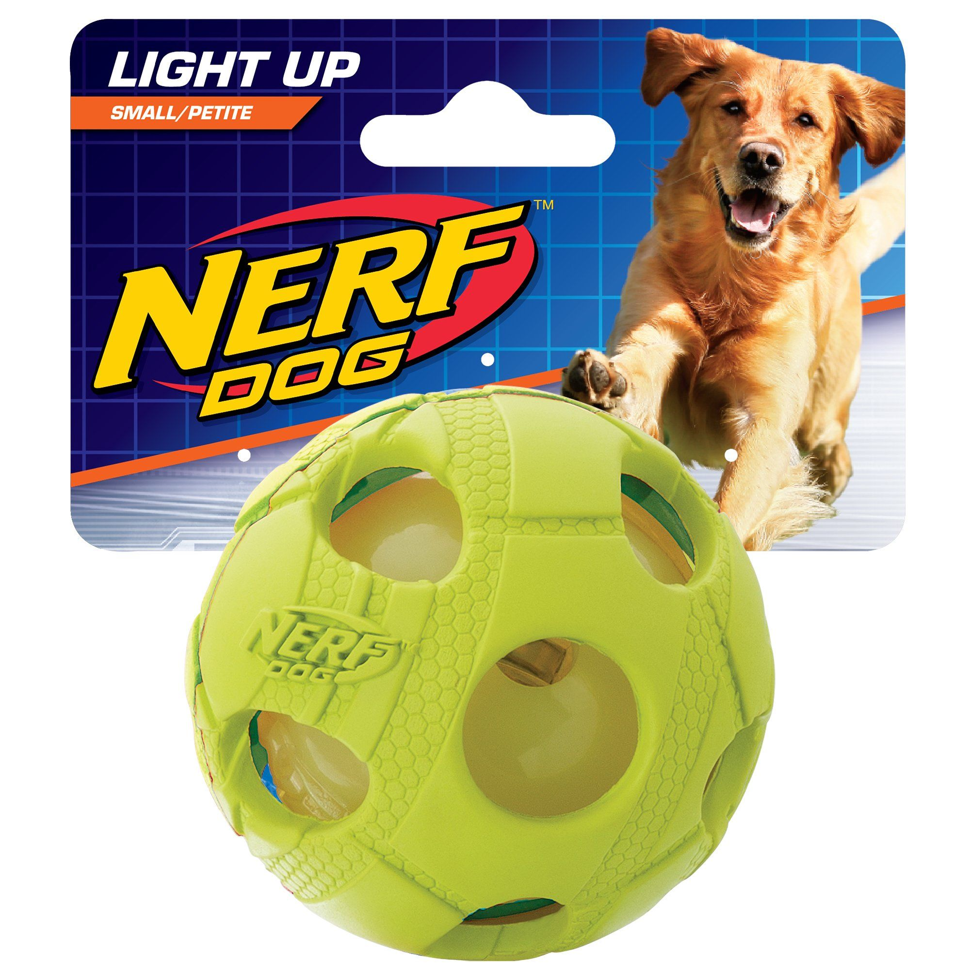 Small Dog Toys Nerf Dog Small Led Bash Ball Lightup Green Dog