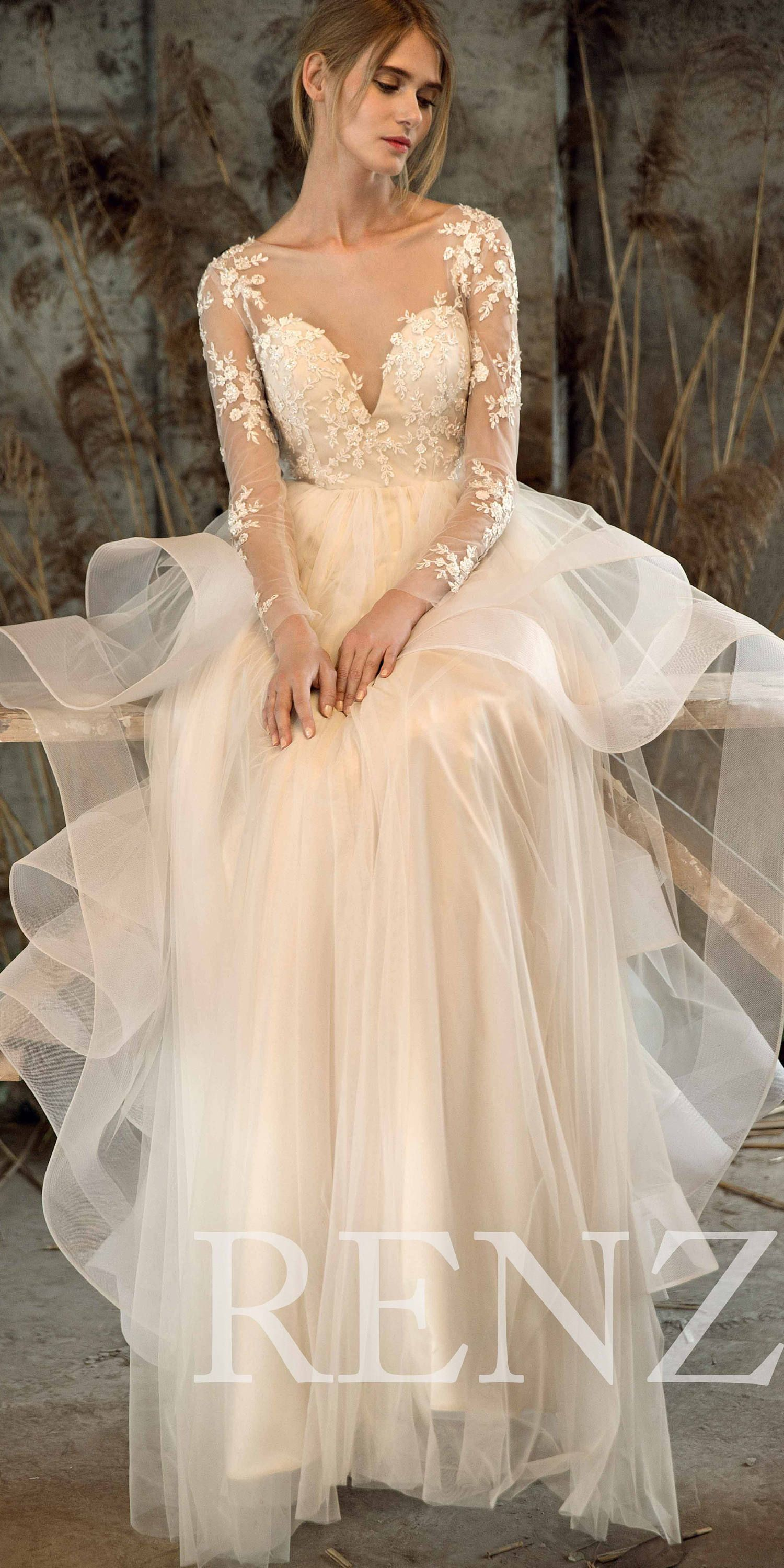 Wedding Dress Off White Tulle Dress,Long Sleeve Lace Bride Dress ...