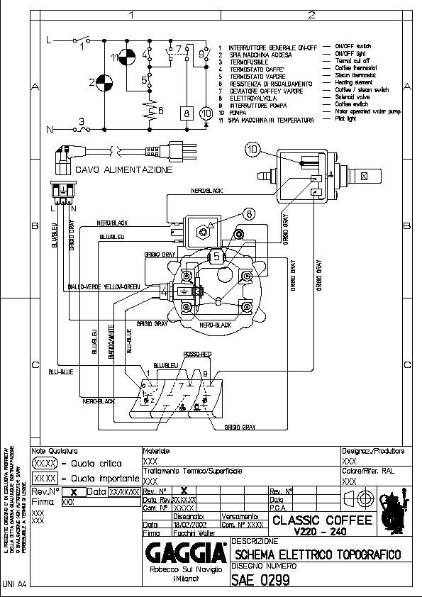 Wiring Diagram For 220v Gaggia Classic