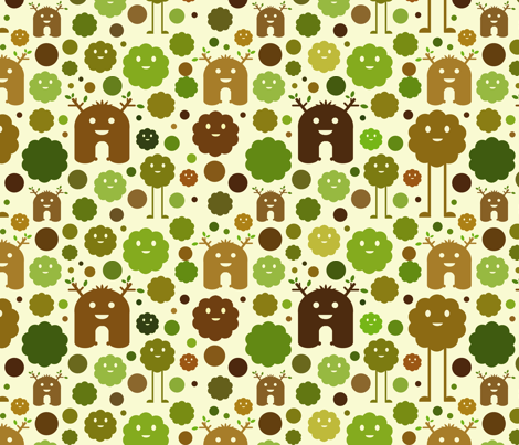 Nature monsters fabric by jesseesuem on spoonflower for Monster themed fabric