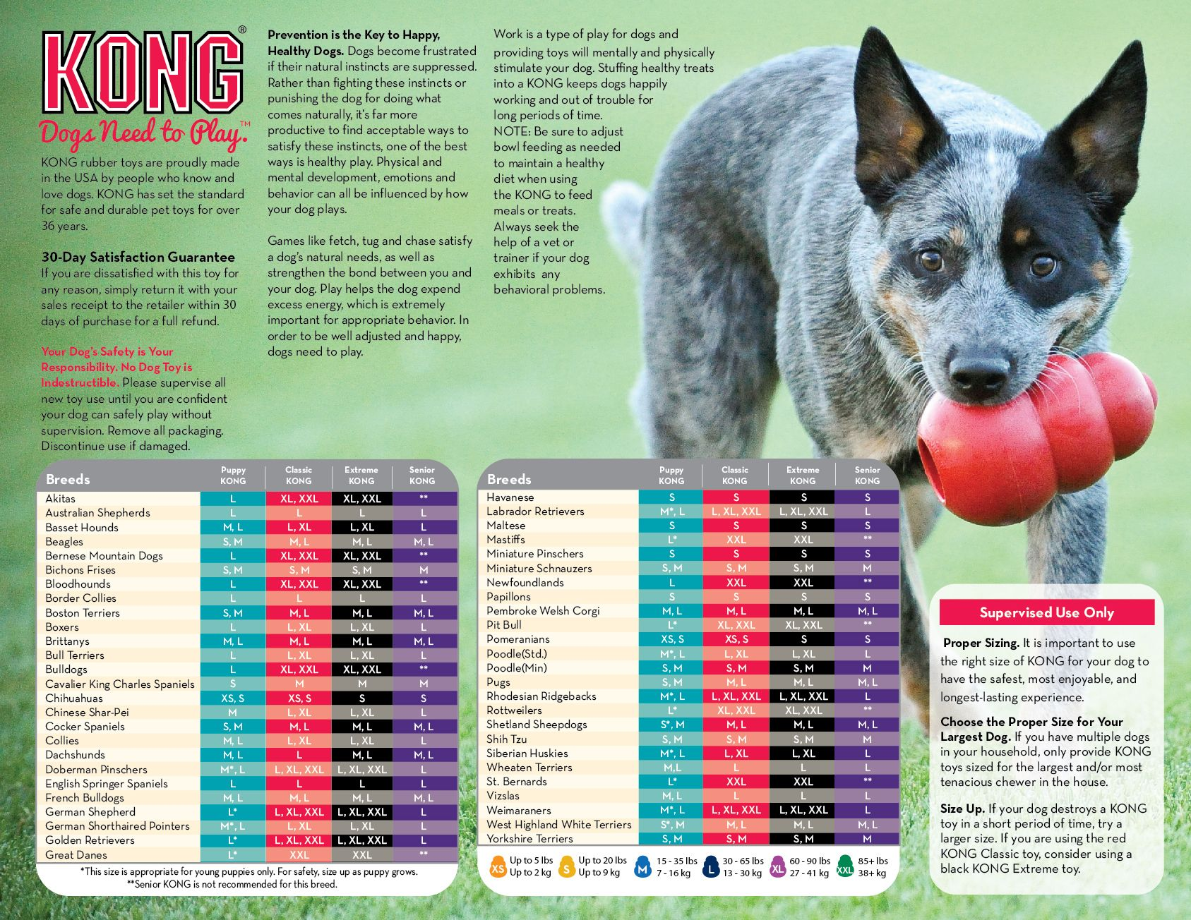 Kong Toy Size Charts By Breed Dog Toys Dog Chart Dogs