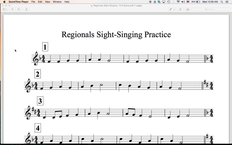 Regionals Sight Singing Practice