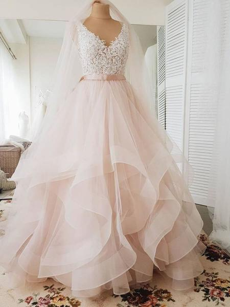 Blush Pink Lace Wedding Dresses Multi Layered Organza Wedding Gowns Awd1336 Ball Gowns Wedding Tulle Wedding Dress Blush Wedding Dress