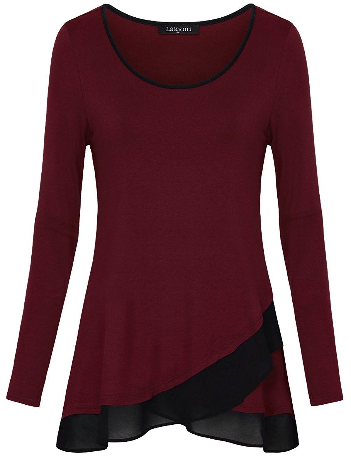691218bac94 Womens Long Sleeve Chiffon Stitching Crew Neck A Line Casual Layered ...