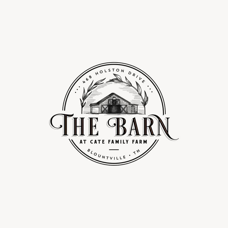 The barn detailed illustration for a farm logo with ...