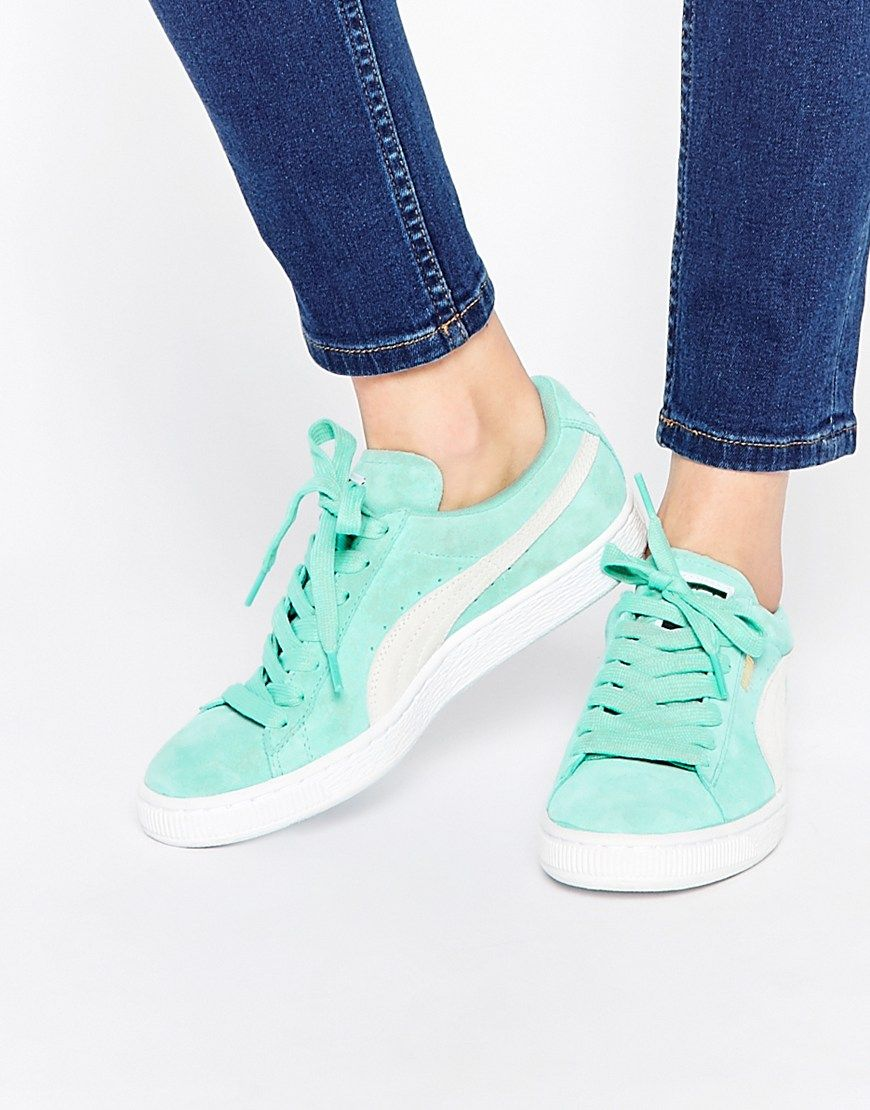 d3a5b8545 puma mint green suede basket sneakers