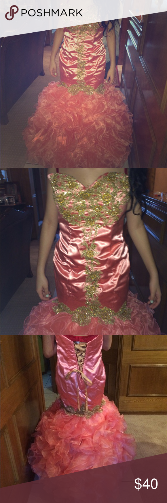 Pink and gold mermaid formal dress mermaids corsets and formal