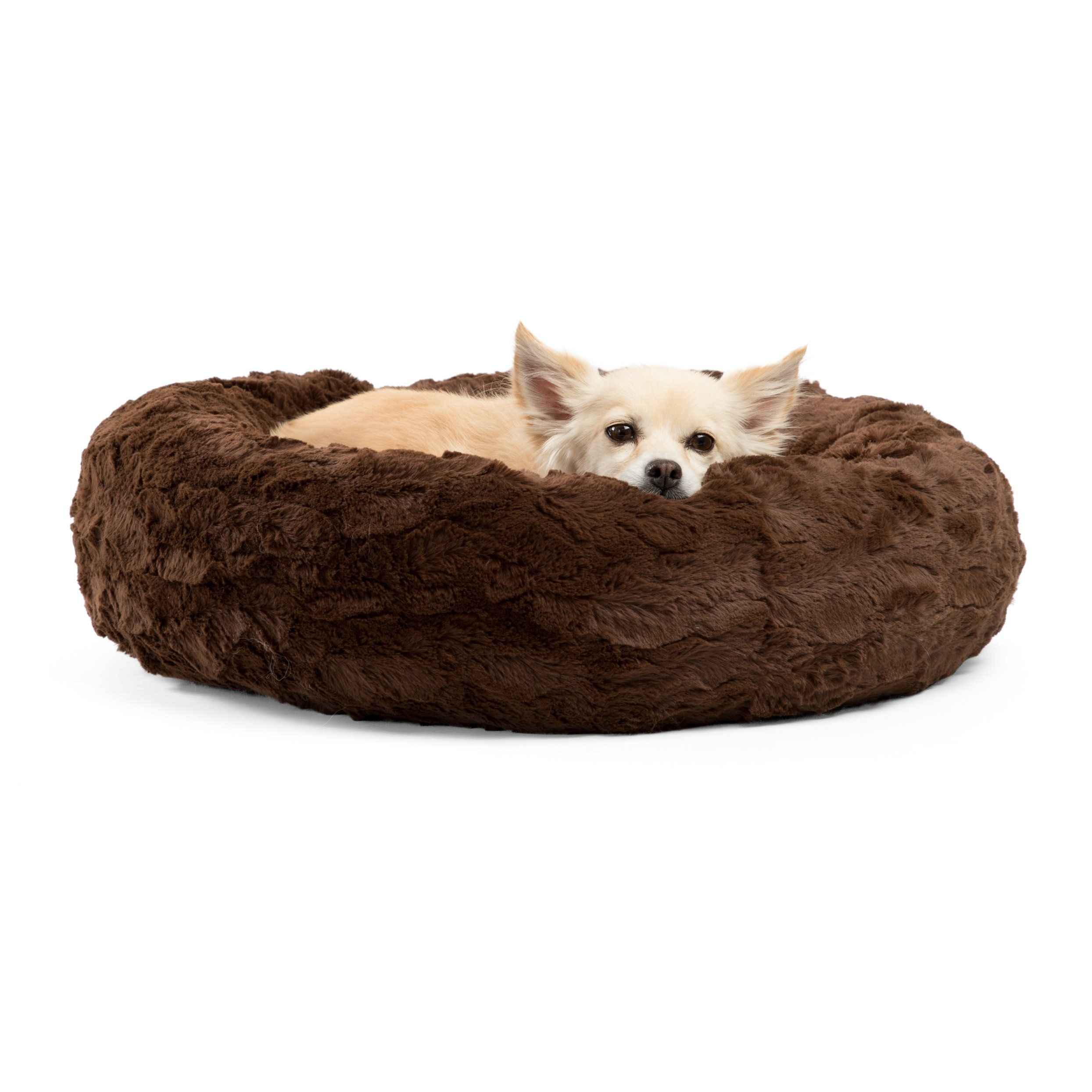 Best Friends By Sheri Luxury Faux Fur Donut Cuddler 23x23 Dark Chocolate Small Round Donut Cat And Dog Cushion Bed Ortho Dog Bed Cushion Donut Dog Bed Dog Bed