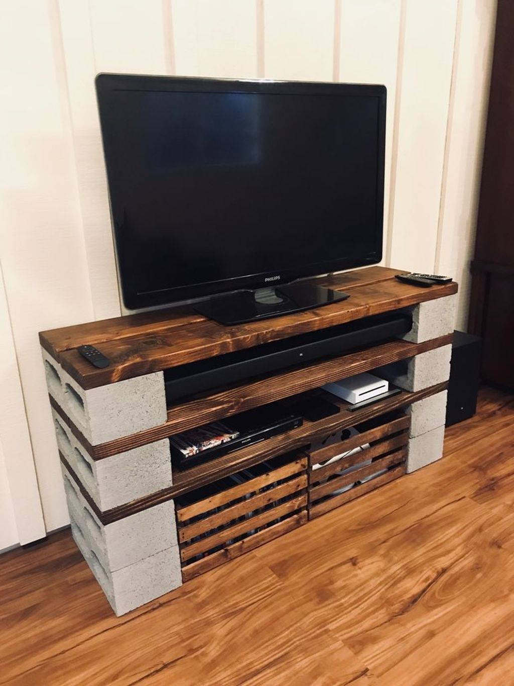 Awesome 44 Nice Shelves Entertainment Center Design Ideas More At Https Homyfeed Co Diy Furniture Tv Stand Cinder Block Furniture Home Entertainment Centers