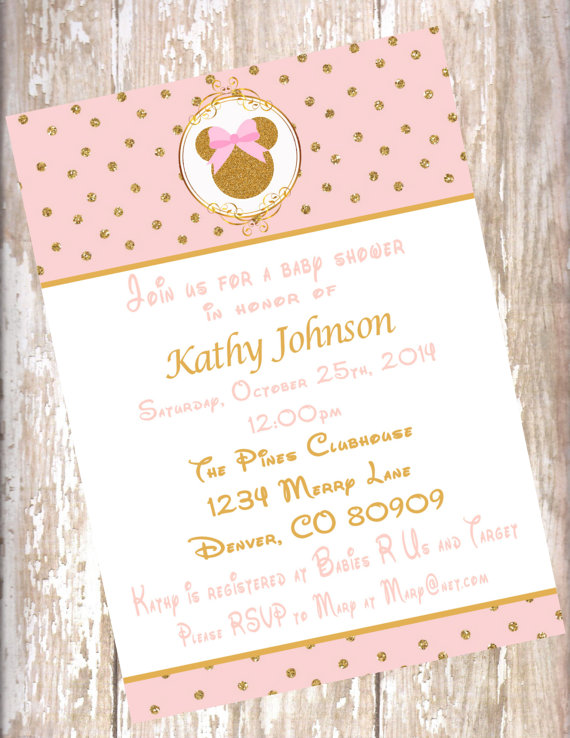Minnie Mouse Blush Pink And Gold Baby Shower Invitations Pdf
